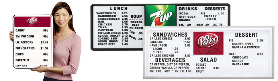 Track Style Menu Boards